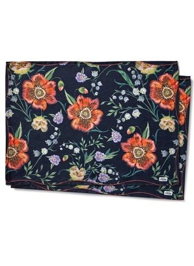 The Mia Floral Amerikan Servis 2 Li Set B - 50 x 30 Cm - Siyah Çiçekli Siyah